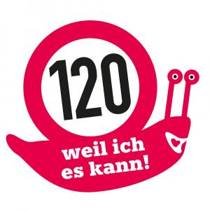 """Aufkleber """"120 km/h – weil ich es kann"""" (1 Stück)"""