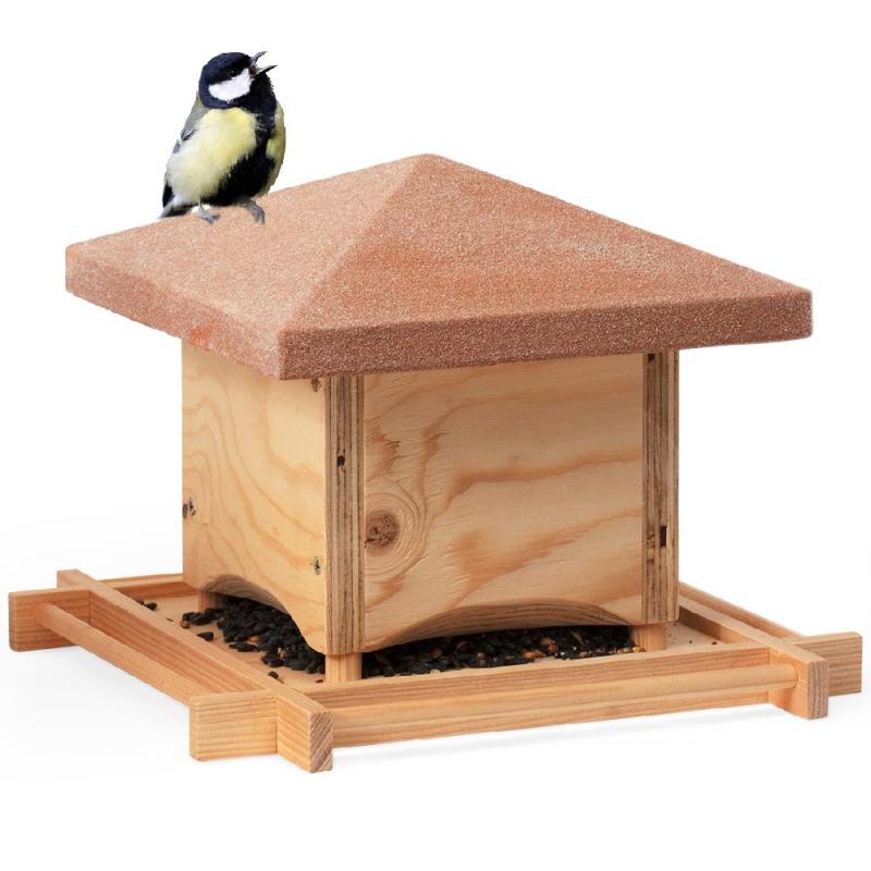 Vogelfutterspender Aus Holz Rundum Sitzstangen