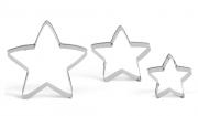 Ausstechform Stern 5 Zacken, drei Sterne, drei Größen