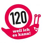 """Aufkleber """"120 km/h – weil ich es kann"""" (10 Stück)"""